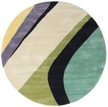 Dynamic Handtufted - Mint 絨毯 Ø 200 モダン ラウンド 暗めのベージュ色の/濃いグレー/パステルグリーン (ウール, インド)