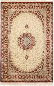 クム シルク 絨毯 132X201 オリエンタル 手織り ベージュ/薄茶色 (絹, ペルシャ/イラン)