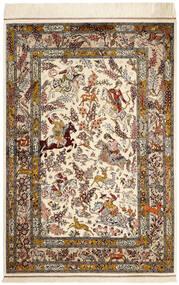 クム シルク 絨毯 98X148 オリエンタル 手織り ベージュ/茶 (絹, ペルシャ/イラン)