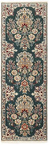 ナイン 6La 絨毯 50X150 オリエンタル 手織り 廊下 カーペット 濃いグレー/薄い灰色 (ウール/絹, ペルシャ/イラン)
