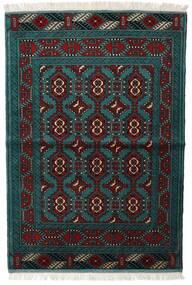 トルクメン 絨毯 105X150 オリエンタル 手織り 黒/ターコイズ (ウール, ペルシャ/イラン)