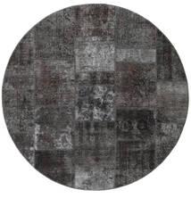パッチワーク - Persien/Iran 絨毯 Ø 200 モダン 手織り ラウンド 濃いグレー/黒 (ウール, ペルシャ/イラン)