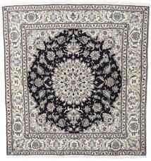 ナイン 絨毯 196X206 オリエンタル 手織り 正方形 薄い灰色/濃いグレー (ウール, ペルシャ/イラン)