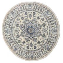 ナイン 絨毯 Ø 200 オリエンタル 手織り ラウンド 濃いグレー/薄い灰色/暗めのベージュ色の (ウール, ペルシャ/イラン)