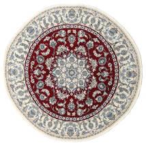 ナイン 絨毯 Ø 200 オリエンタル 手織り ラウンド ベージュ/深紅色の (ウール, ペルシャ/イラン)