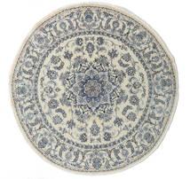 ナイン 絨毯 Ø 200 オリエンタル 手織り ラウンド 暗めのベージュ色の/濃いグレー/薄い灰色 (ウール, ペルシャ/イラン)