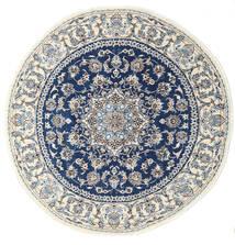 ナイン 絨毯 Ø 200 オリエンタル 手織り ラウンド 薄い灰色/ベージュ/紺色の (ウール, ペルシャ/イラン)