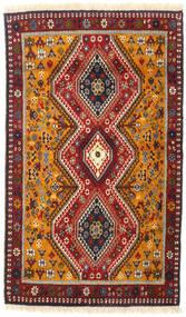 ヤラメー 絨毯 82X140 オリエンタル 手織り 深紅色の/濃い茶色 (ウール, ペルシャ/イラン)
