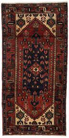 ハマダン 絨毯 98X195 オリエンタル 手織り 濃い茶色/深紅色の (ウール, ペルシャ/イラン)