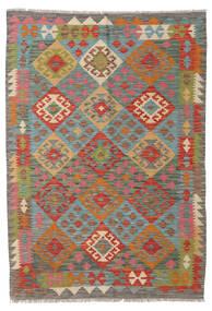 キリム アフガン オールド スタイル 絨毯 123X176 オリエンタル 手織り 濃いグレー/深紅色の (ウール, アフガニスタン)