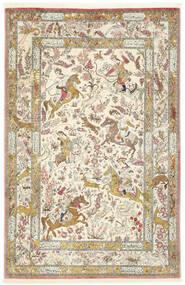 クム シルク 絨毯 132X203 オリエンタル 手織り 暗めのベージュ色の/黄色 (絹, ペルシャ/イラン)