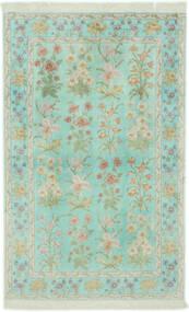 クム シルク 絨毯 102X160 オリエンタル 手織り パステルグリーン/薄い灰色 (絹, ペルシャ/イラン)
