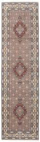 ムード 絨毯 80X292 オリエンタル 手織り 廊下 カーペット 薄い灰色/濃い茶色 (ウール/絹, ペルシャ/イラン)