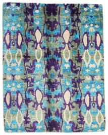 Sari ピュア シルク 絨毯 156X198 モダン 手織り ターコイズブルー/濃い紫 (絹, インド)