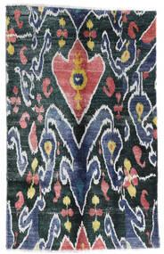 Sari ピュア シルク 絨毯 105X166 モダン 手織り 紺色の/ホワイト/クリーム色 (絹, インド)