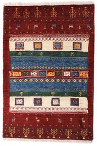 Loribaft ペルシャ 絨毯 63X94 モダン 手織り 深紅色の/濃いグレー (ウール, ペルシャ/イラン)
