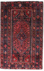 ハマダン 絨毯 90X140 オリエンタル 手織り 黒/深紅色の (ウール, ペルシャ/イラン)