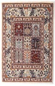 ムード 絨毯 76X117 オリエンタル 手織り ベージュ/濃い茶色 (ウール/絹, ペルシャ/イラン)
