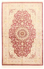 クム シルク 絨毯 132X201 オリエンタル 手織り ベージュ/ライトピンク (絹, ペルシャ/イラン)