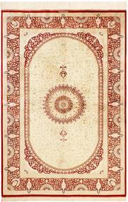 クム シルク 絨毯 134X197 オリエンタル 手織り ベージュ/赤 (絹, ペルシャ/イラン)