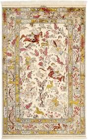クム シルク 絨毯 131X203 オリエンタル 手織り ベージュ/茶 (絹, ペルシャ/イラン)