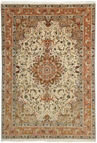 タブリーズ 50 Raj 絨毯 253X358 オリエンタル 手織り 茶/薄茶色/暗めのベージュ色の 大きな (ウール/絹, ペルシャ/イラン)