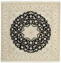 ナイン 9La 絨毯 196X208 オリエンタル 手織り 正方形 暗めのベージュ色の/ベージュ (ウール/絹, ペルシャ/イラン)