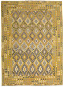 キリム アフガン オールド スタイル 絨毯 255X358 オリエンタル 手織り 黄色/薄茶色 大きな (ウール, アフガニスタン)