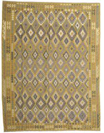 キリム アフガン オールド スタイル 絨毯 298X389 オリエンタル 手織り オリーブ色/濃いグレー 大きな (ウール, アフガニスタン)