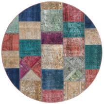 パッチワーク - Persien/Iran 絨毯 Ø 200 モダン 手織り ラウンド 薄い灰色/紺色の (ウール, ペルシャ/イラン)