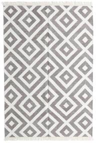 Bamboo シルク キリム 絨毯 140X200 モダン 手織り 薄い灰色/ホワイト/クリーム色 (ウール/バンブーシルク, インド)