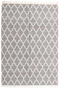Bamboo シルク キリム 絨毯 140X200 モダン 手織り 薄い灰色/ベージュ (ウール/バンブーシルク, インド)