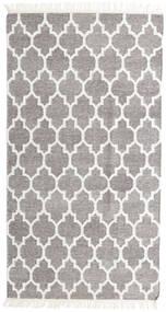 Bamboo シルク キリム 絨毯 90X160 モダン 手織り 薄い灰色/ベージュ (ウール/バンブーシルク, インド)