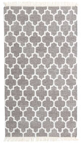 Bamboo シルク キリム 絨毯 90X160 モダン 手織り 薄い灰色/ホワイト/クリーム色 (ウール/バンブーシルク, インド)