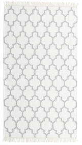 Bamboo シルク キリム 絨毯 90X160 モダン 手織り ホワイト/クリーム色/薄い灰色 (ウール/バンブーシルク, インド)