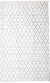 Bamboo シルク キリム 絨毯 200X300 モダン 手織り ホワイト/クリーム色/ベージュ/薄い灰色 (ウール/バンブーシルク, インド)