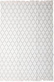 Bamboo シルク キリム 絨毯 200X300 モダン 手織り 薄い灰色/ホワイト/クリーム色 (ウール/バンブーシルク, インド)