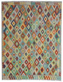 キリム アフガン オールド スタイル 絨毯 190X247 オリエンタル 手織り 薄い灰色/深緑色の (ウール, アフガニスタン)