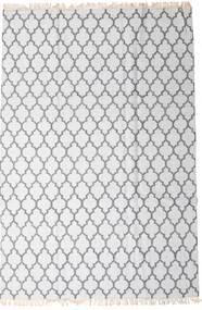 Bamboo シルク キリム 絨毯 200X300 モダン 手織り ホワイト/クリーム色/薄い灰色 (ウール/バンブーシルク, インド)