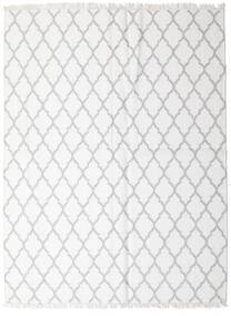 Bamboo シルク キリム 絨毯 170X220 モダン 手織り ホワイト/クリーム色/薄い灰色 (ウール/バンブーシルク, インド)