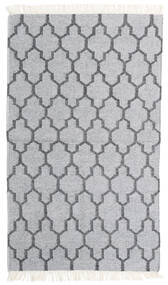 Bamboo シルク キリム 絨毯 90X152 モダン 手織り 薄い灰色/ホワイト/クリーム色 (ウール/バンブーシルク, インド)