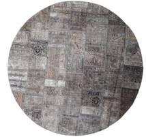 パッチワーク - Persien/Iran 絨毯 Ø 250 モダン 手織り ラウンド 薄い灰色/茶/濃い茶色 大きな (ウール, ペルシャ/イラン)