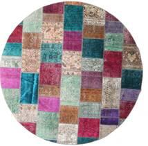 パッチワーク - Persien/Iran 絨毯 Ø 250 モダン 手織り ラウンド 黒/紫 大きな (ウール, ペルシャ/イラン)