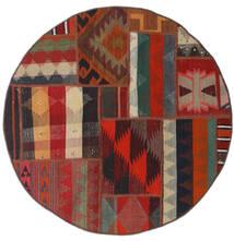 Tekkeh キリム 絨毯 Ø 100 モダン 手織り ラウンド 深紅色の/黒 (ウール, ペルシャ/イラン)