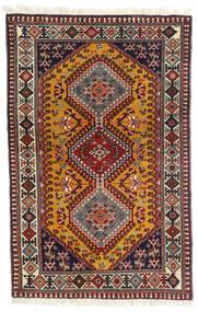 ヤラメー 絨毯 81X126 オリエンタル 手織り 深紅色の/濃い茶色 (ウール, ペルシャ/イラン)