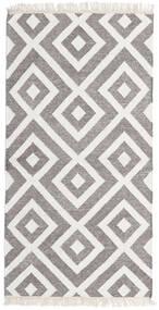 Bamboo シルク キリム 絨毯 90X160 モダン 手織り ホワイト/クリーム色/薄い灰色/濃いグレー (ウール/バンブーシルク, インド)