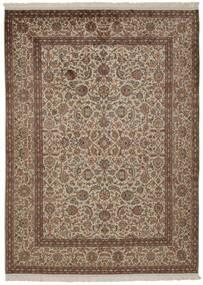 カシミール ピュア シルク 絨毯 157X214 オリエンタル 手織り 茶/薄い灰色/薄茶色 (絹, インド)
