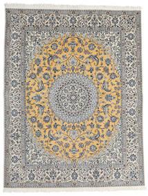 ナイン 9La 絨毯 200X253 オリエンタル 手織り 薄い灰色/濃いグレー (ウール/絹, ペルシャ/イラン)
