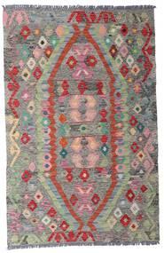 キリム アフガン オールド スタイル 絨毯 96X149 オリエンタル 手織り 薄い灰色/濃いグレー (ウール, アフガニスタン)
