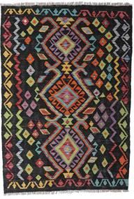 キリム モダン 絨毯 97X143 モダン 手織り 黒/濃い茶色 (ウール, アフガニスタン)